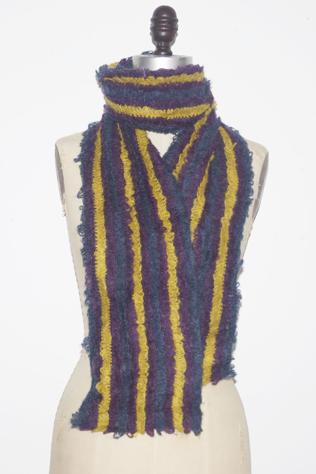 scarf teal purple mustard